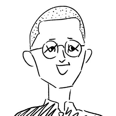 大橋裕之が描いた九条ジョーの似顔絵イラスト。