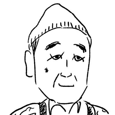 大橋裕之が描いた石坂浩二の似顔絵イラスト。