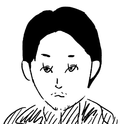 大橋裕之が描いた松田龍平の似顔絵イラスト。