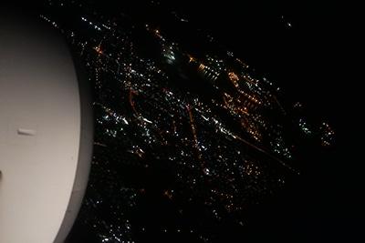 飛行機から見た夜景。