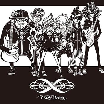 nowisee。左からAdd Fat(G)、Turtle 7th(Piano)、Strange Octave(Vo)、Minimum Root(G)、残酷 tone(Artwork)、Chotto Unison(B)。