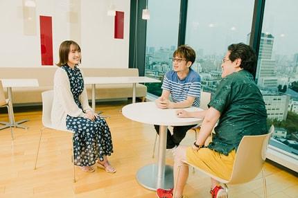 左から鈴木みのり、北川勝利、福田正夫。