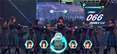 ゲーム内「欅坂46 生中継! デビューカウントダウンライブ!!」より「サイレントマジョリティー」のワンシーン。