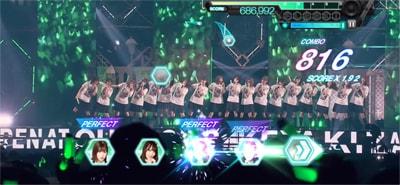 ゲーム内「欅坂46 夏の全国アリーナツアー2018」より「W-KEYAKIZAKAの詩」のワンシーン。