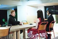 左から吉田豪、浜崎容子(Vo)、松永天馬(Vo)。