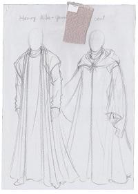 シェイクスピア歴史劇シリーズは、衣裳の美しさも高い評価を得た。前田文子が手がけた「ヘンリー六世」衣裳原画。