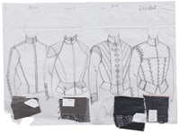 前田文子が手がけた「ヘンリー六世」衣裳原画。