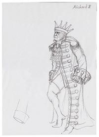 シェイクスピア歴史劇シリーズは、衣裳の美しさも高い評価を得た。前田文子が手がけた「リチャード三世」衣裳原画。